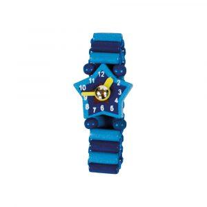 Dřev.hodinky modré 4 ks