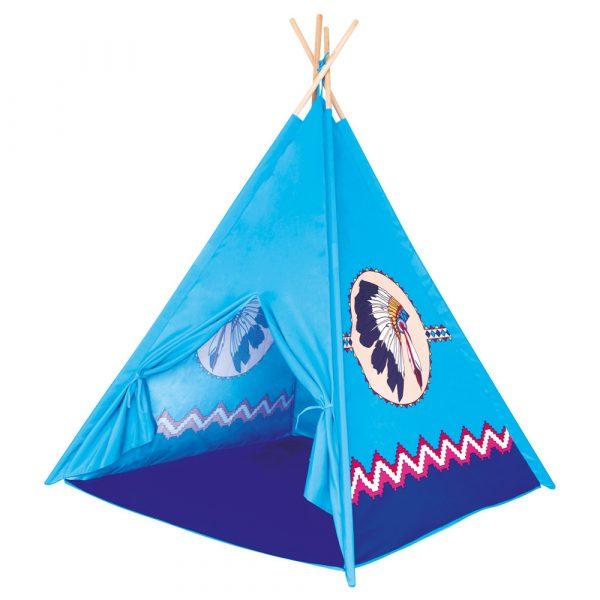 TeePee, dětský stan modrý, 4 stěny